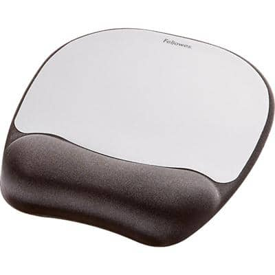 Fellowes Mouse Pad with Wrist Rest Memory Foam Black, Silver