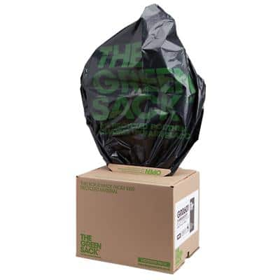 The Green Sack medium-duty refuse sacks black 838 x 737mm (h x w) 10kg capacity 75 per box