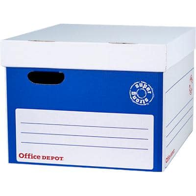 Office Depot Super Strong XL Self Assembly Self Locking Mechanism Archive Boxes Blue, White 10 Pieces