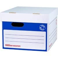 Office Depot Super Strong Archive Boxes Self Locking Mechanism Blue, White Pack of 10