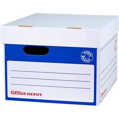 Office Depot Super Strong Archive Boxes Self Locking Mechanism Blue, White 264 x 346 x 410 mm  Pack of 10