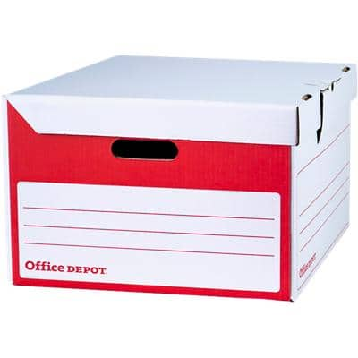 Office Depot Flip Top Self Locking Mechanism Archive Boxes Red, White 258 x 400 x 456 mm Pack of 10