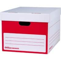 Office Depot Extra Large Self Locking Mechanism Archive Boxes Red, White 298(h) x 469(w) x 372(d) mm Pack of 10