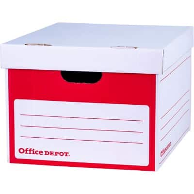 Office Depot Archive Boxes Red, White 26.2 x 34.9 x 41.2 cm 10 Pieces