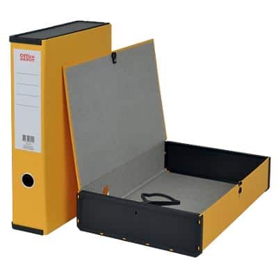 Office Depot Box File Foolscap Paper on Board 75 mm Spine Grip Hole and Catch Yellow