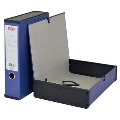 Office Depot Box File A4 Paper on Board 75 mm Spine Grip Hole and Catch Dark Blue