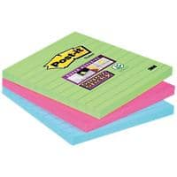 Post-it Super Sticky Large Lined Notes 101 x 101 mm Neon Assorted Colours 3 Pads of 70 Sheets