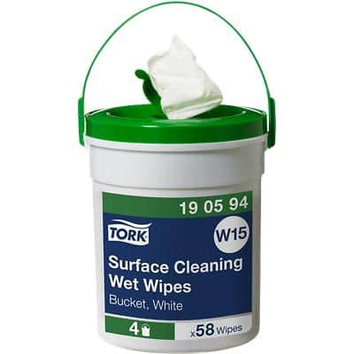 Tork Fabric Surface Cleaning Wet Wipes W15 - Handy Bucket 15.7m x 135mm White Pack of 58
