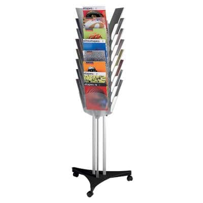 Paperflow Literature Display 3 Sided Display Stand 24 x A4 Silver / Clear