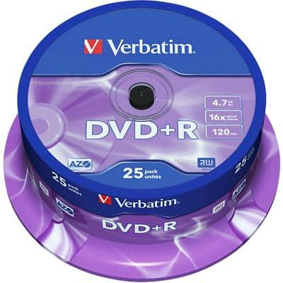 Verbatim DVD+R 16x 4.7 GB Matt Silver 25 Pieces