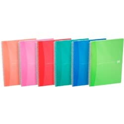 Oxford Office Wirebound Notebooks Soft Board Cover A5 Bright Coloured ruled Margin