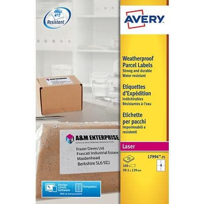 Avery L7994-25 Parcel Labels Permanent 99.1 x 139 mm White 25 Sheets of 4 Labels