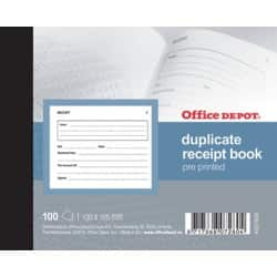 Office Depot pre-printed 105 x 130 mm receipt book (100 sheet sets)