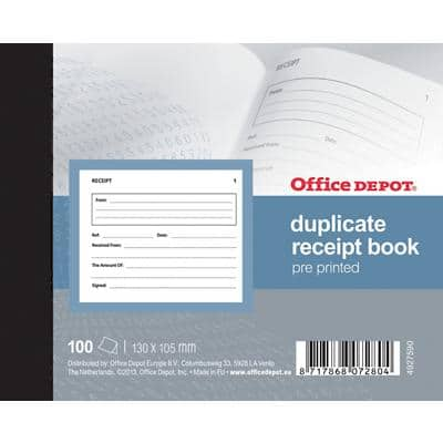 Office Depot Ruled Duplicate Receipt Book 13,5 x 10,5 cm 100 Sheets