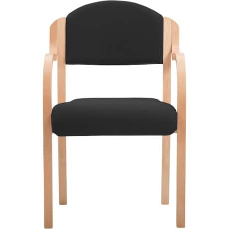 Beech Effect Melamine Frame Stacking Chair with Arms - Fabric Black