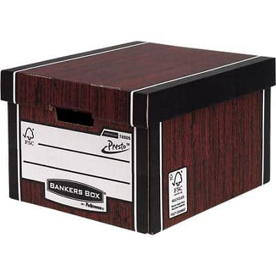 BANKERS BOX Premium Classic Archive Boxes PRESTO Woodgrain 25.7 x 34.2 x 40 cm Pack of 10