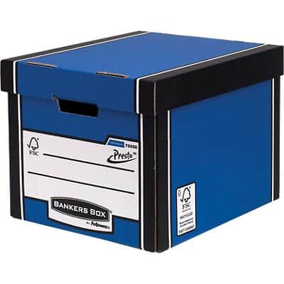 BANKERS BOX® Premium Heavy-Duty Tall Storage Box Blue - Pack of 10