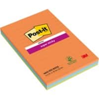 Post-it Super Sticky Large Lined Notes 101 x 152 mm Assorted Colours 3 Pads of 45 Sheets