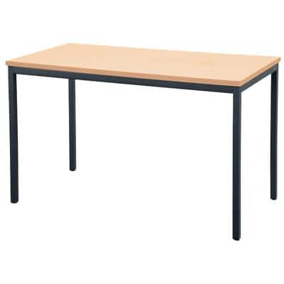 Niceday Rectangular Table with Beech Coloured MFC & Aluminium Top and Black Frame 1200 x 600 x 750 mm