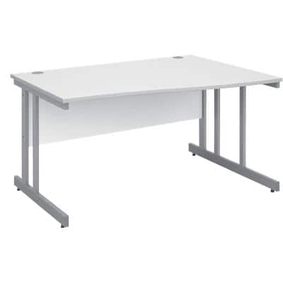 Freeform Right Hand Design Wave Desk with White MFC Top and Silver Frame Adjustable Legs Momento 1400 x 990 x 725 mm