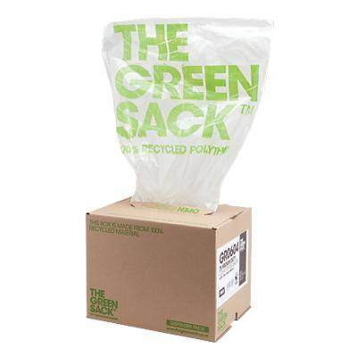 The Green Sack medium-duty refuse sacks clear 965 x 737 mm (h x w) 10 kg capacity 75 per box