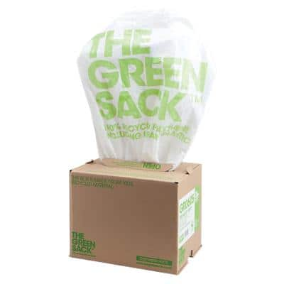 The Green Sack heavy-duty pedal bin liners white 460 x 445 mm (h x w) 15 L 300 per box