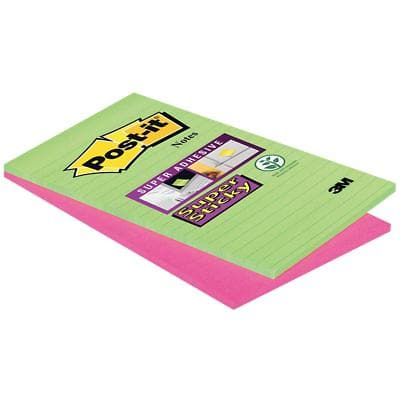 Post-it Super Sticky Large Lined Notes 127 x 203 mm Neon Assorted Colours 2 Pads of 45 Sheets
