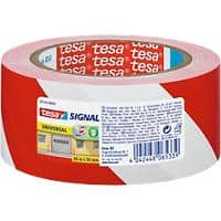 tesapack Signal Warning Tape 50 mm x 66 m Red - White