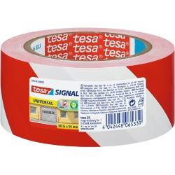 tesapack Marking Tape Signal 50 mm x 66 m Red, White