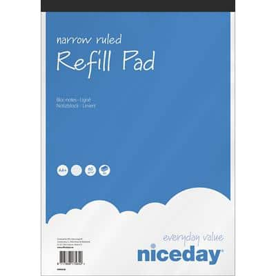 Niceday A4+ Top Bound Blue Paper Cover Refill Pad Ruled 160 Pages Pack of 5