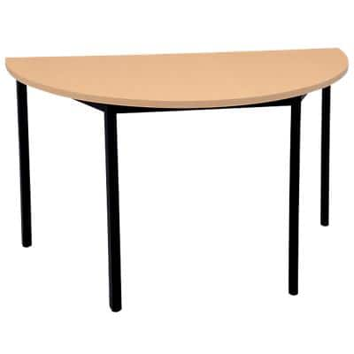Niceday Semicircular Table with Beech Coloured MFC & Aluminium Top and Black Frame 1200 x 600 x 750 mm