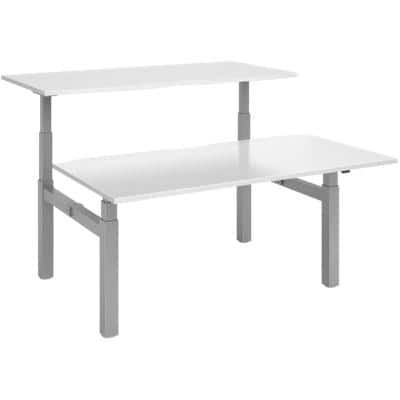 Elev8² Rectangular Sit Stand Back to Back Desk with White Melamine Top and Silver Frame 4 Legs Touch 1600 x 1650 x 675 - 1300 mm