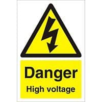 Warning Sign High Voltage Fluted Board 30 x 20 cm