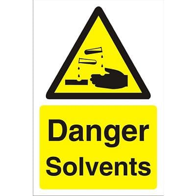 Warning Sign Solvents Fluted Board 60 x 40 cm
