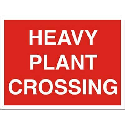Warning Sign Heavy Plant Crossing Fluted Board 30 x 40 cm