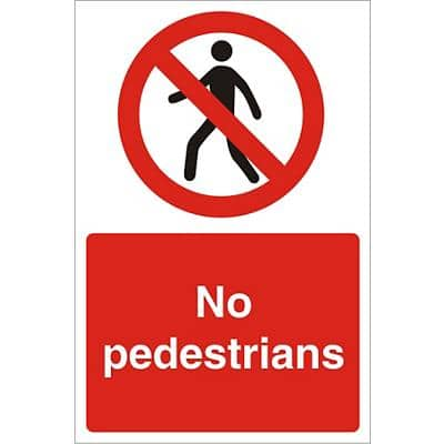 Site Sign No Pedestrians Fluted Board 30 x 20 cm