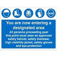 Mandatory Sign PPE Area Fluted Board 30 x 40 cm