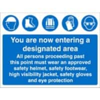 Mandatory Sign PPE Area Fluted Board 45 x 60 cm