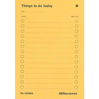 Office Depot Things To Do Today pad A4 80 gsm Ruled 40 Sheets Pack of 5
