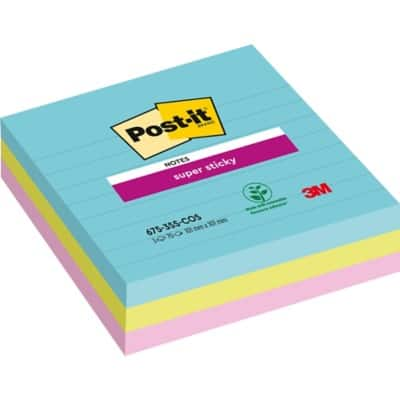 Post-it Super Sticky Notes 101 x 101 mm Assorted 3 Pieces of 70 Sheets