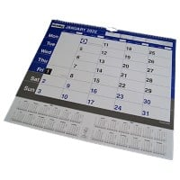 Niceday Wall Calendar A3 2020 Blue & White