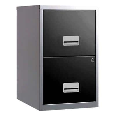 Pierre Henry Filing Cabinet with 2 Lockable Drawers Maxi 400 x 400 x 660mm Silver & Black