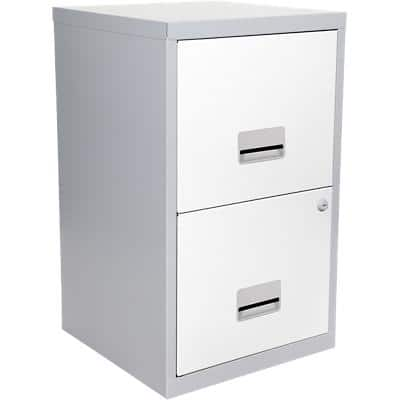 Pierre Henry Filing Cabinet with 2 Lockable Drawers Maxi 400 x 400 x 660mm Silver & White