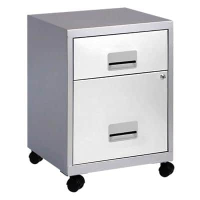 Pierre Henry Filing Cabinet with 2 Lockable Drawers Combi 400 x 400 x 530mm Silver & White