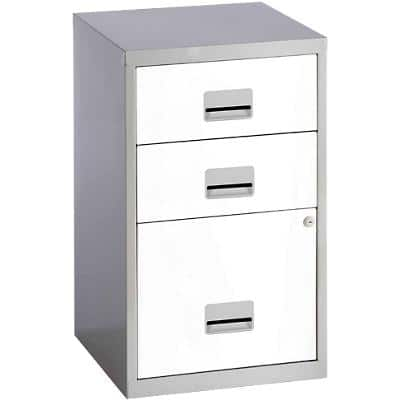 Pierre Henry Filing Cabinet with 3 Lockable Drawers Combi 400 x 400 x 660mm Silver & White