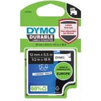 DYMO D1 1978364 Durable Label Tape, Authentic, Self Adhesive, Black Print on White 12 mm x 5.50 m