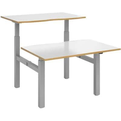 Elev8² Sit Stand Back to Back Desk with White & Oak Edge Coloured Melamine Top and Silver Frame 4 Legs Mono 1650 x 1200 x 675 - 1175 mm