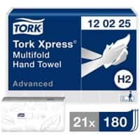 Tork Hand Towels H2 Xpress Advanced Multifold 2 Ply White 80 Sheets Pack of 21