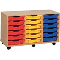 Storage Unit with 6 Trays MSU3/18 YL 700 x 495 x 810mm Beech & Yellow