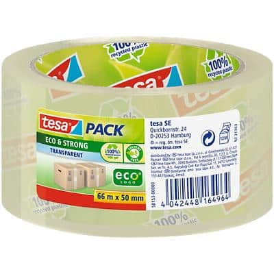 tesapack 58153-0000-00 Eco & Strong Packaging Tape 50mm x 66m Transparent